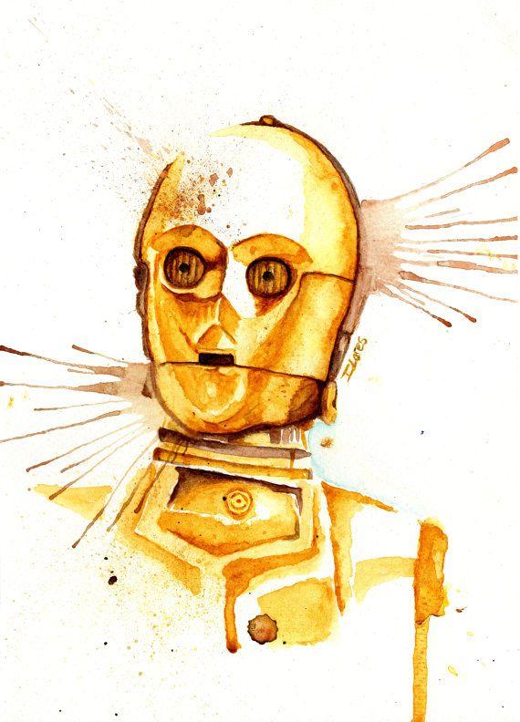 c3po droid watercolor art print star wars decor paint aquarela