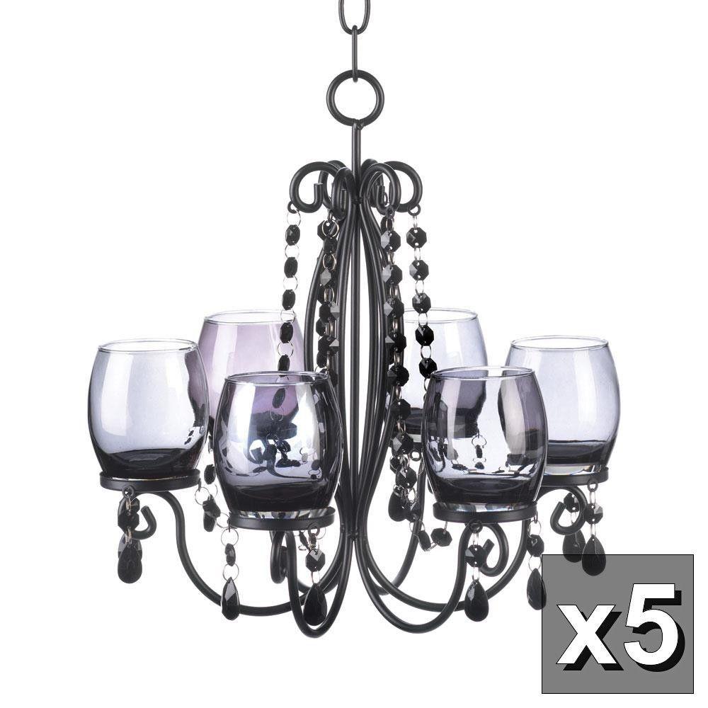 5 BLACK crystal chandelier CANDELABRA Candle holder wedding table ...