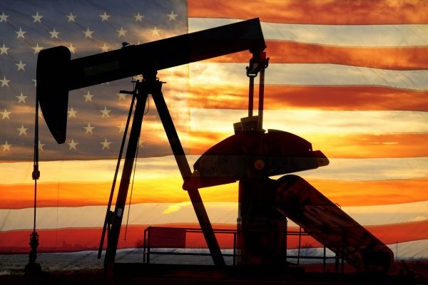 Landscape image of a oil well pumpjack wiith an early morning golden sunrise and American USA red White and Blue background. A is the overground drive for a reciprocating piston pump in an well. - by James BO Insogna Oilfield Man, Oilfield Trash, Oilfield Quotes, Oil Field Jobs, Flag Background, Vector Background, Oil Industry, Industry Trends, Drilling Rig