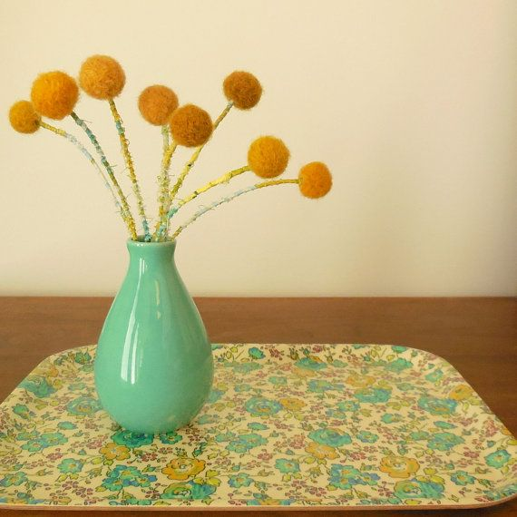 Craspedia Billy Balls Billy Buttons With Vase Mustard Pompom Flowers Round Ball Floral Arrangement Wool Pom P Billy Balls Billy Buttons Small Centerpieces