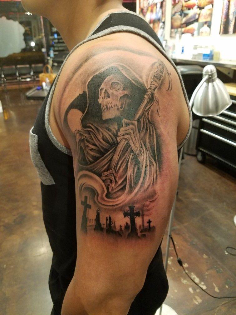 Grim Reaper with Graveyard Tattoo Tattoos, Graveyard