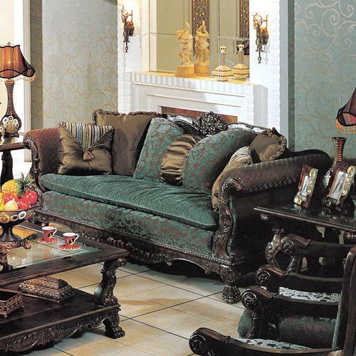 Blue And Brown Sofa: Luxurious Blue & Brown Sofa Couch Living Room Furniture