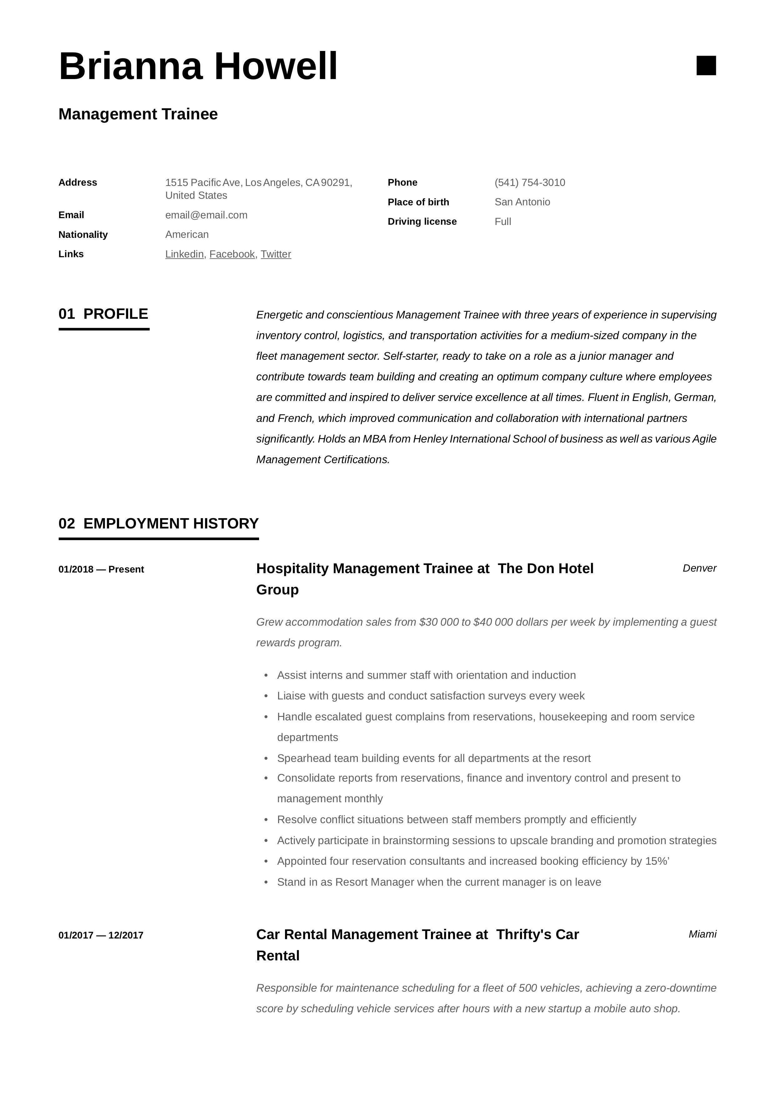 Professional Management Trainee Resume, template, design