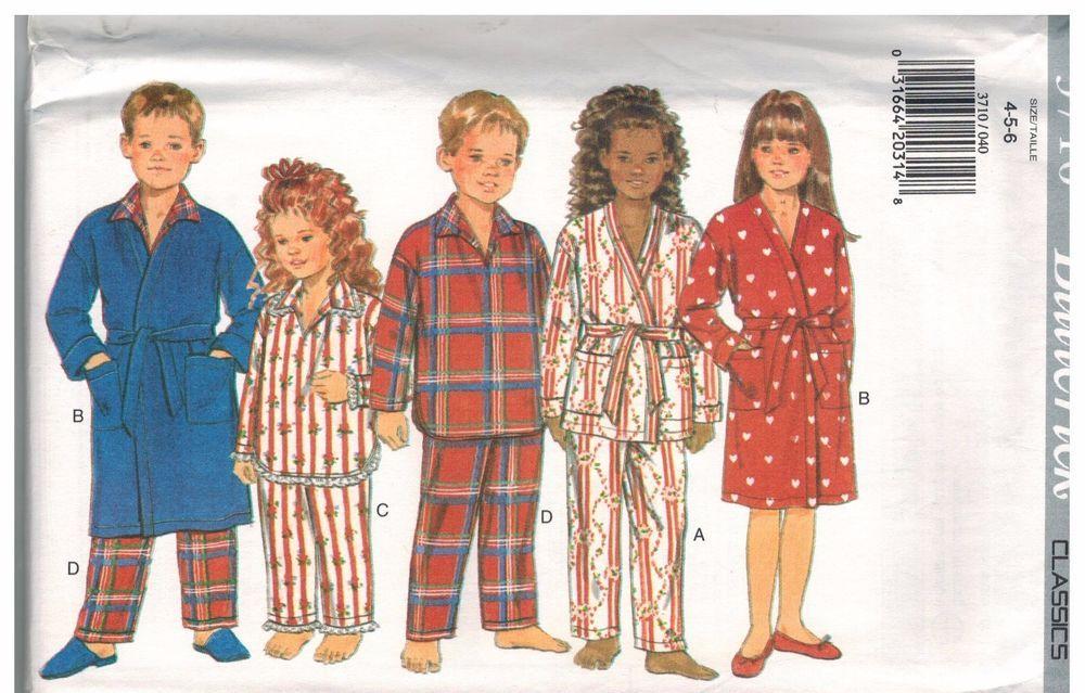 3710 UNCUT Vintage Butterick SEWING Pattern Childrens Pajamas Robe Belt Pants FF #Butterick