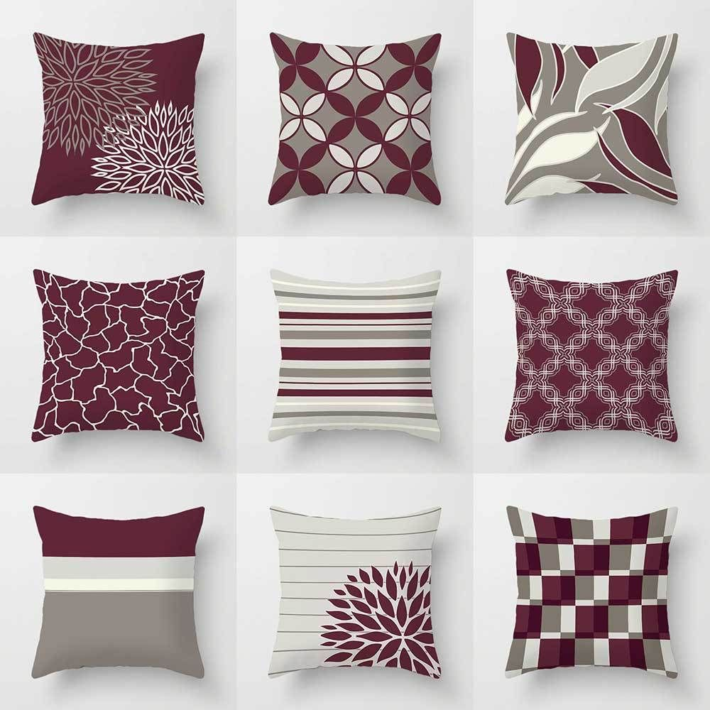 Maroon Grey And White Living Room: Burgundy Decorative Pillow Covers, Throw Pillows, Wine