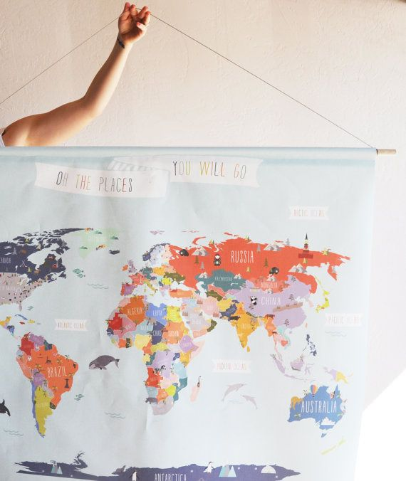 Giant canvas wall banner world map baby love pinterest wall giant canvas wall banner world map gumiabroncs Image collections