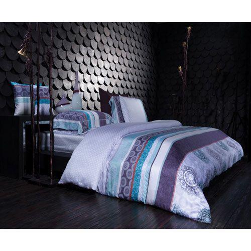 Ensemble housse de douillette en coton contexture 300 Sofia de St. Pierre Home - Grand lit - Lavande   - En ligne seulement
