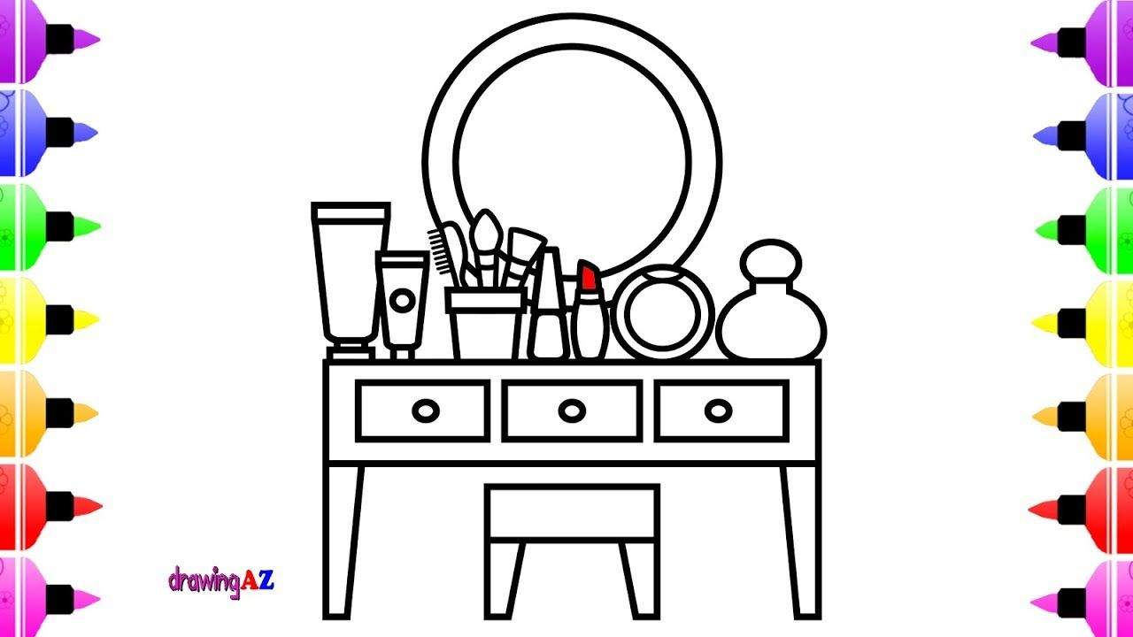 How To Draw Makeup Table For Girl Coloring Book For Girls Coloring Books Book Girl Toddler Drawing