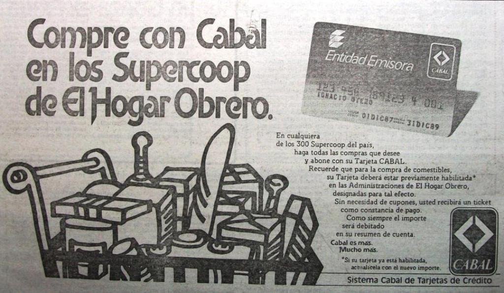 Cabal Tarjeta 1989 Publicidad Retro Publicidad Grafica Publicidad