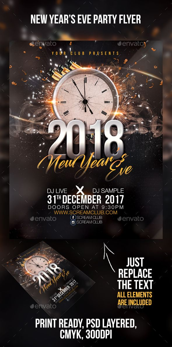 New Year\u0027s Eve Party Fonts download, Party flyer and Flyer template
