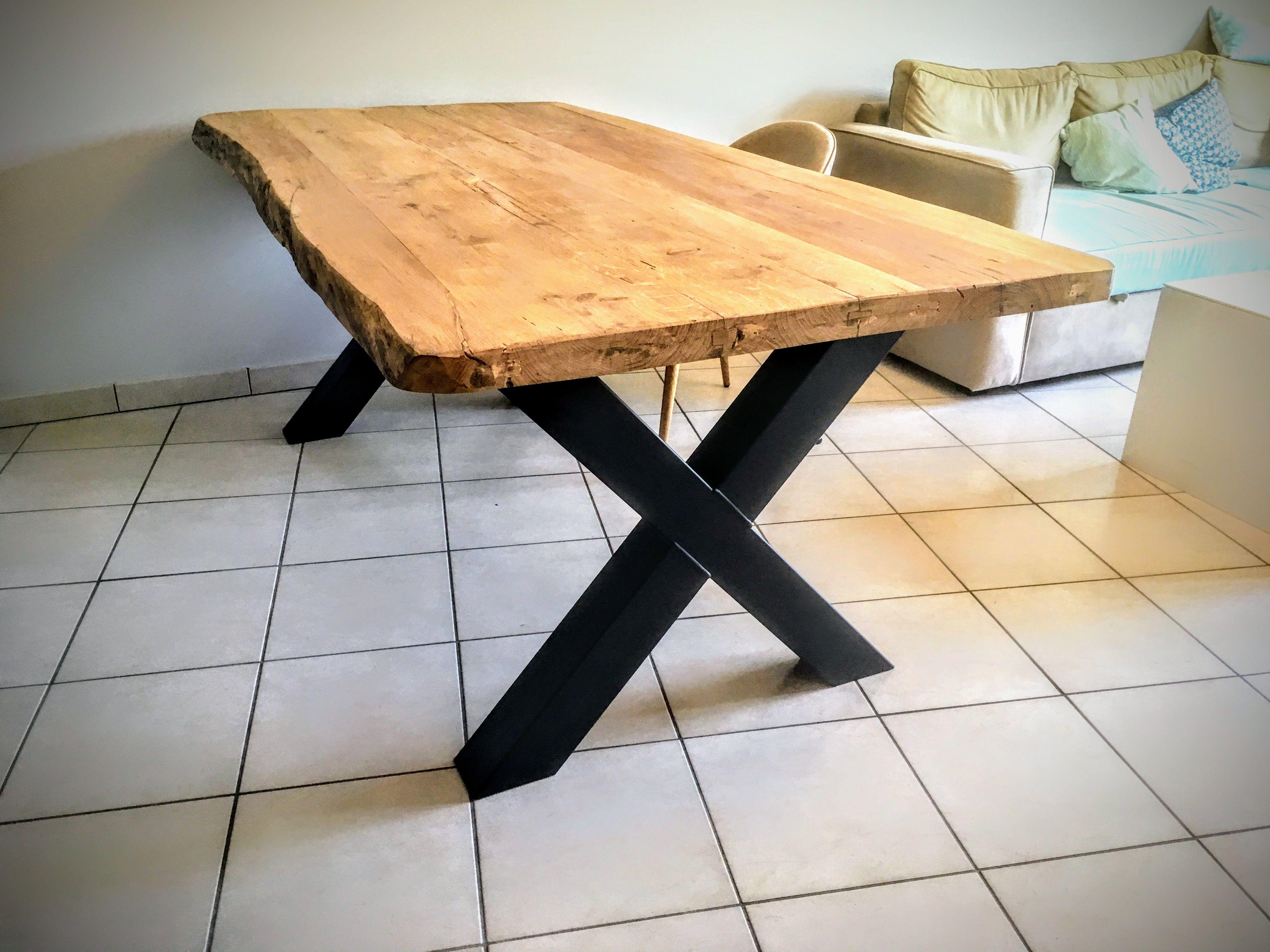 Table En Bois Chene Clair table bois métal pied croix scandinave - pied en acier