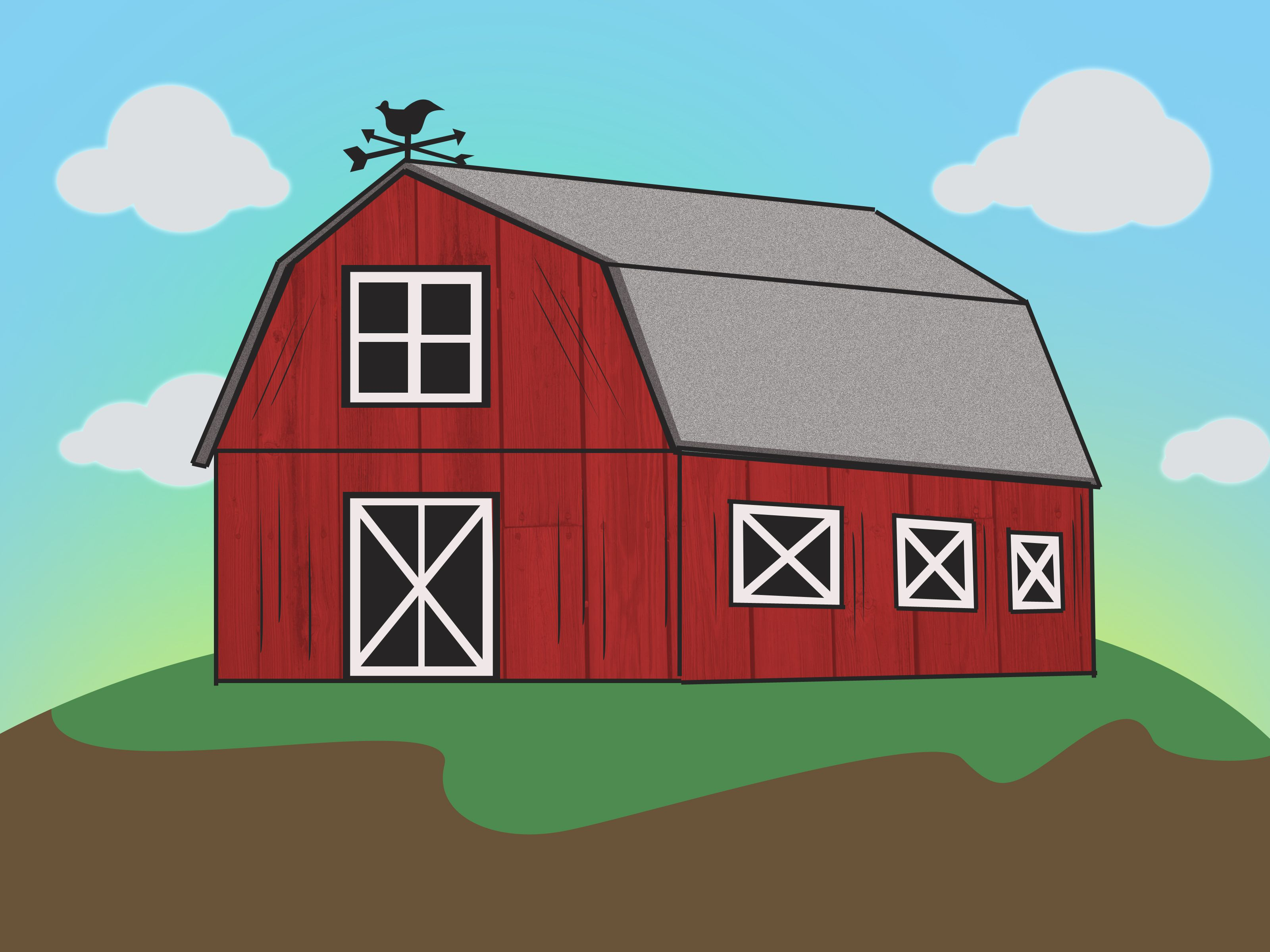How to draw a barn via drawings for Farm house drawings