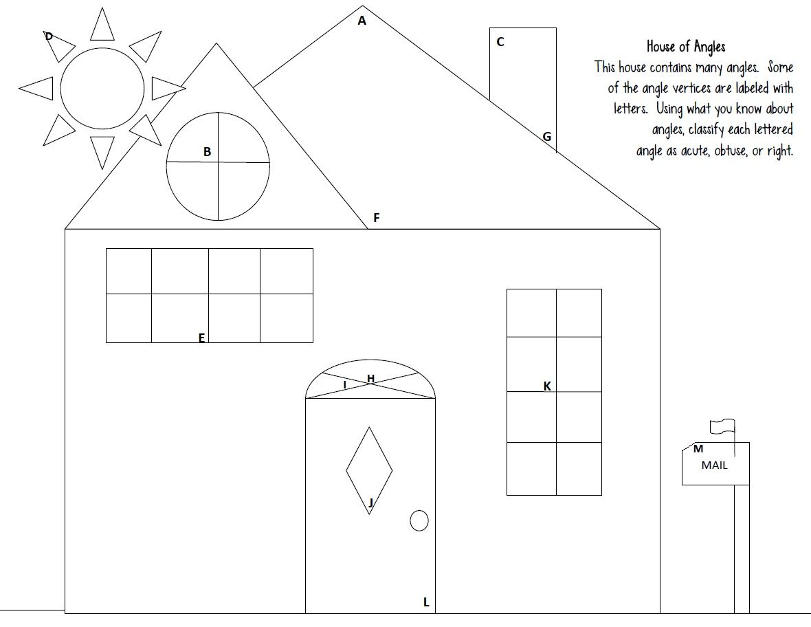 Angles Worksheet Acute Obtuse Right House Of Angles Angles Worksheet Angles Math Math Geometry