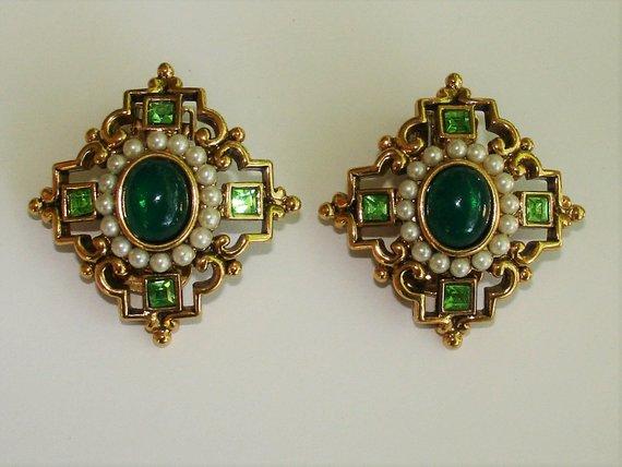 05660092e284b3 Vintage Vendome Earrings, Emerald Green Rhinestone, Faux Pearl, Etruscan  Revival Style, Vintage 1960