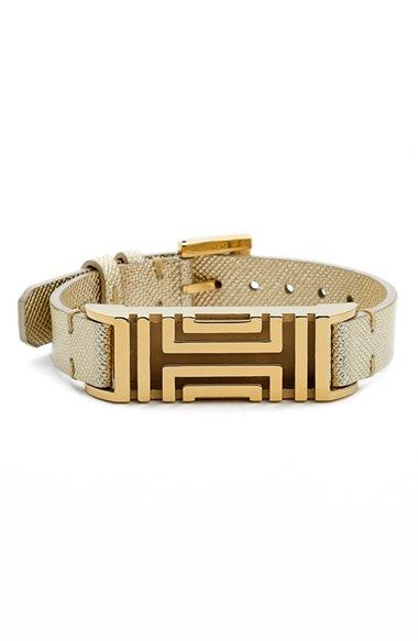5a696b26d3df Free shipping and returns on Tory Burch for Fitbit® Metallic Leather  Bracelet at Nordstrom.com. Tory Burch s iconic fretwork patterns this  comfortable ...