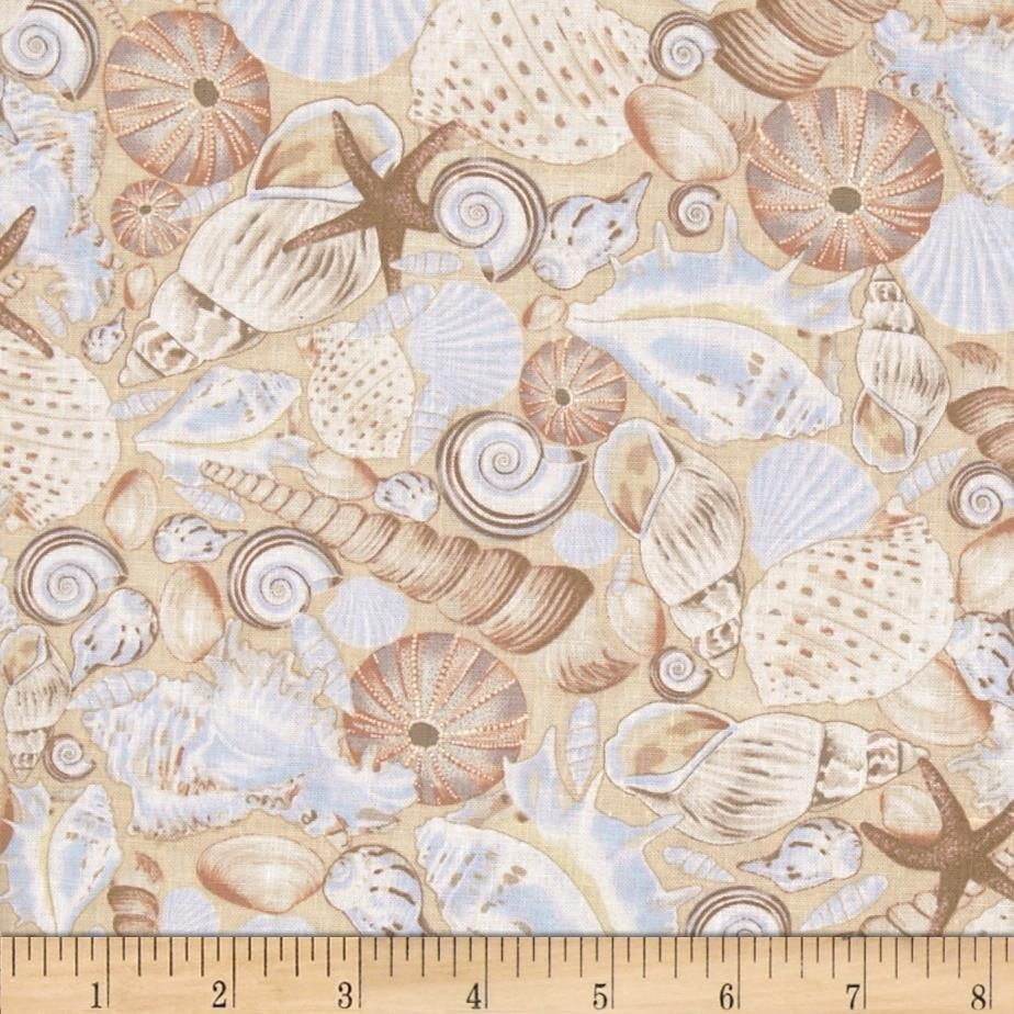 Timeless Treasures Beach Pass Shells Shell From Fabricdotcom Designed By George Mccartney For Timeless Treasur Treasure Beach Beach Fabric Timeless Treasures