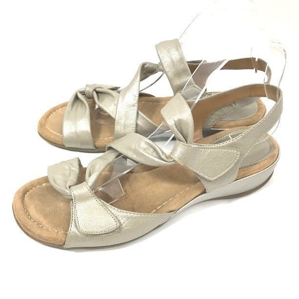c6963efa25d9 Bjorndal Womens Size 9 M Sandals Double Time Silver Metallic Leather Wedge  Shoes  Bjrndal  PlatformsWedges  Casual