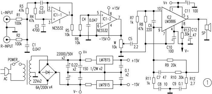 rangkaian-amplifier-subwoofer-LM3886 | The doors in 2019 ...