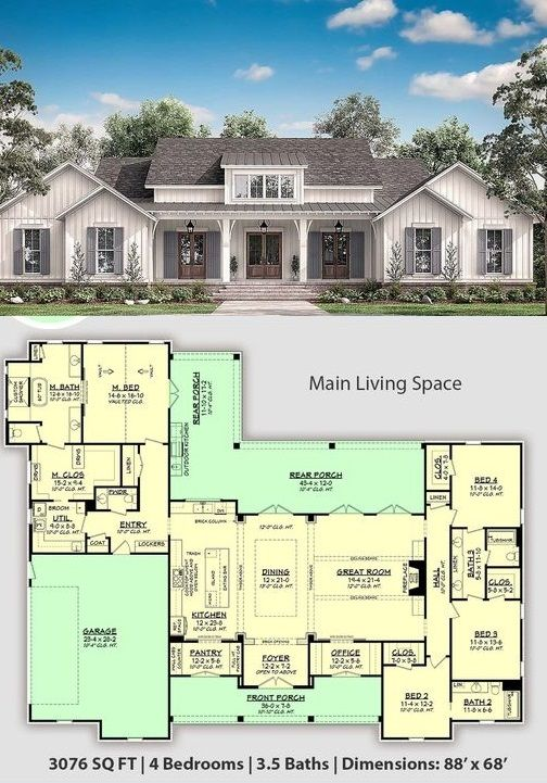 4 Bedroom Modern Farmhouse With 3 5 Bathrooms And An Outdoor Living Space At Cool House Plans House Plans Farmhouse My House Plans Craftsman House Plans