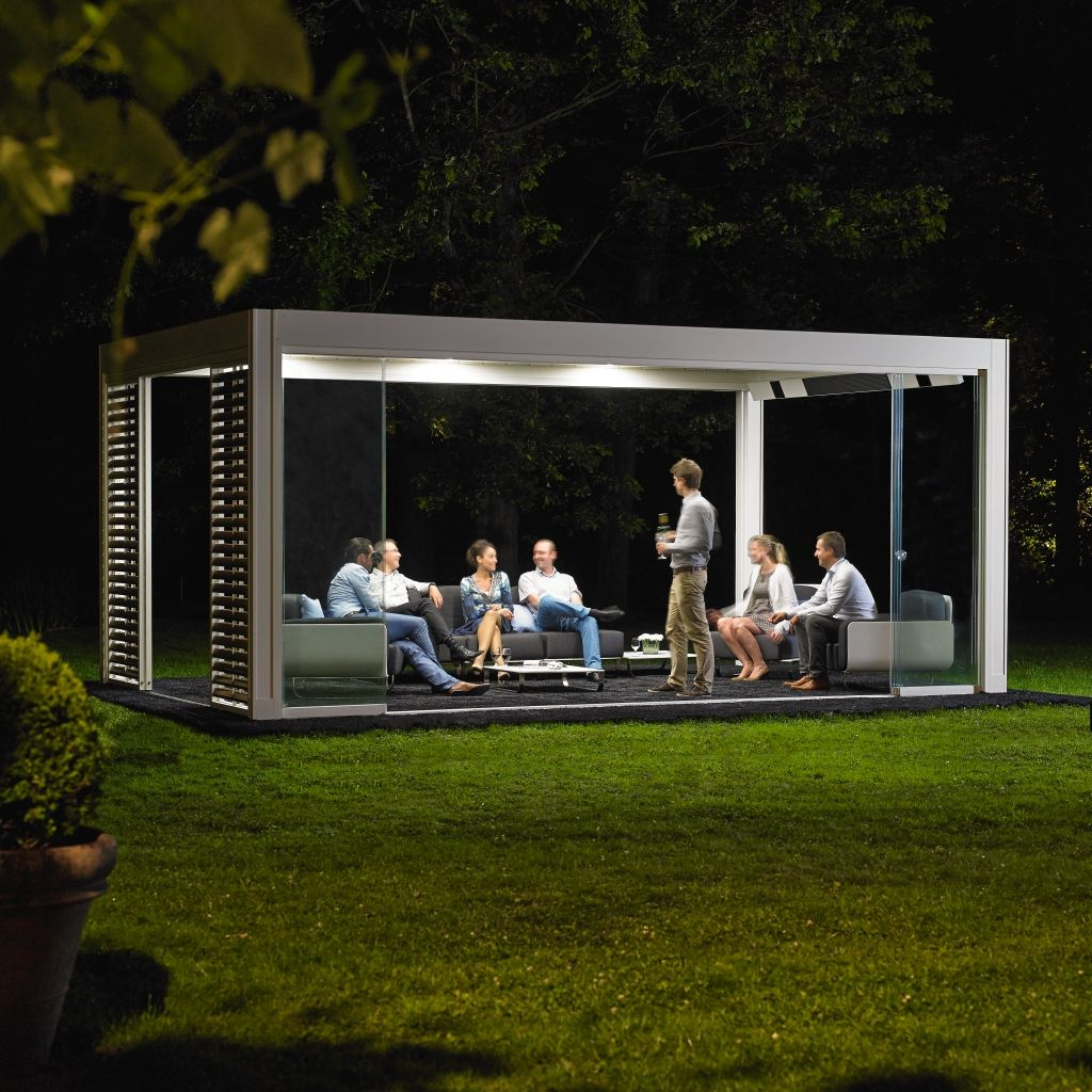Motorized pergola with adjustable louvers with built-in lights CAMARGUE® by RENSON®