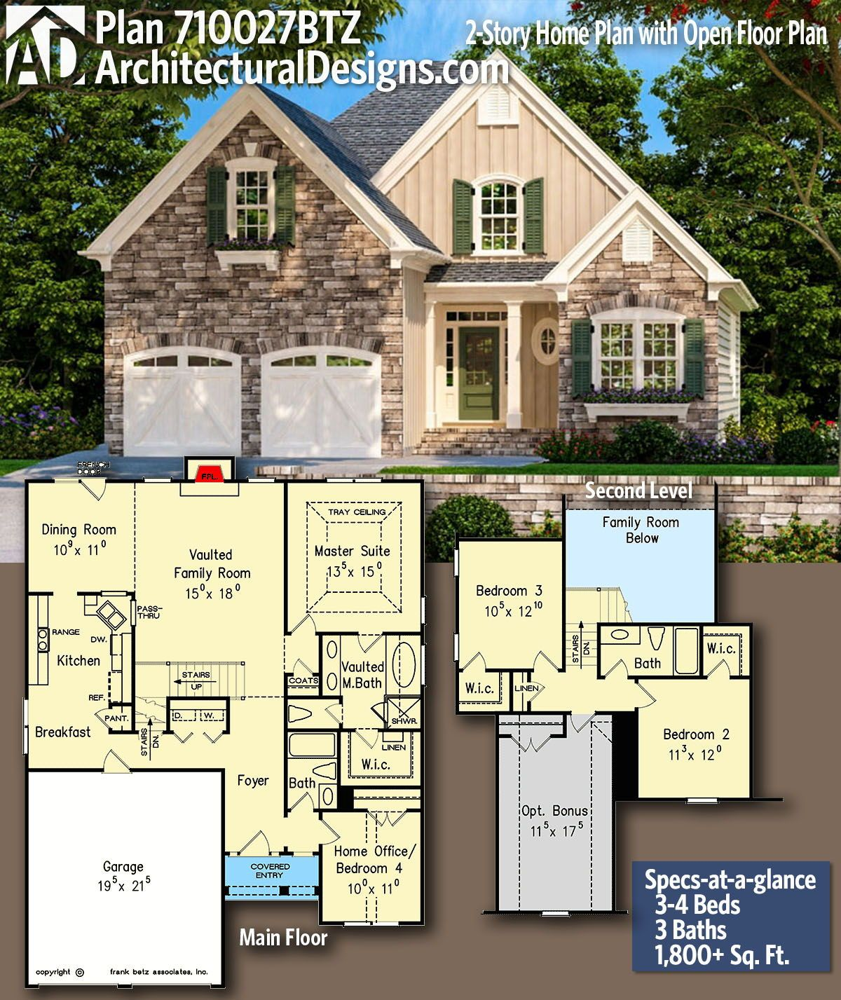 Plan 710027btz 2 Story Home Plan With Open Floor Plan Craftsman House Plans Architectural Design House Plans Floor Plans