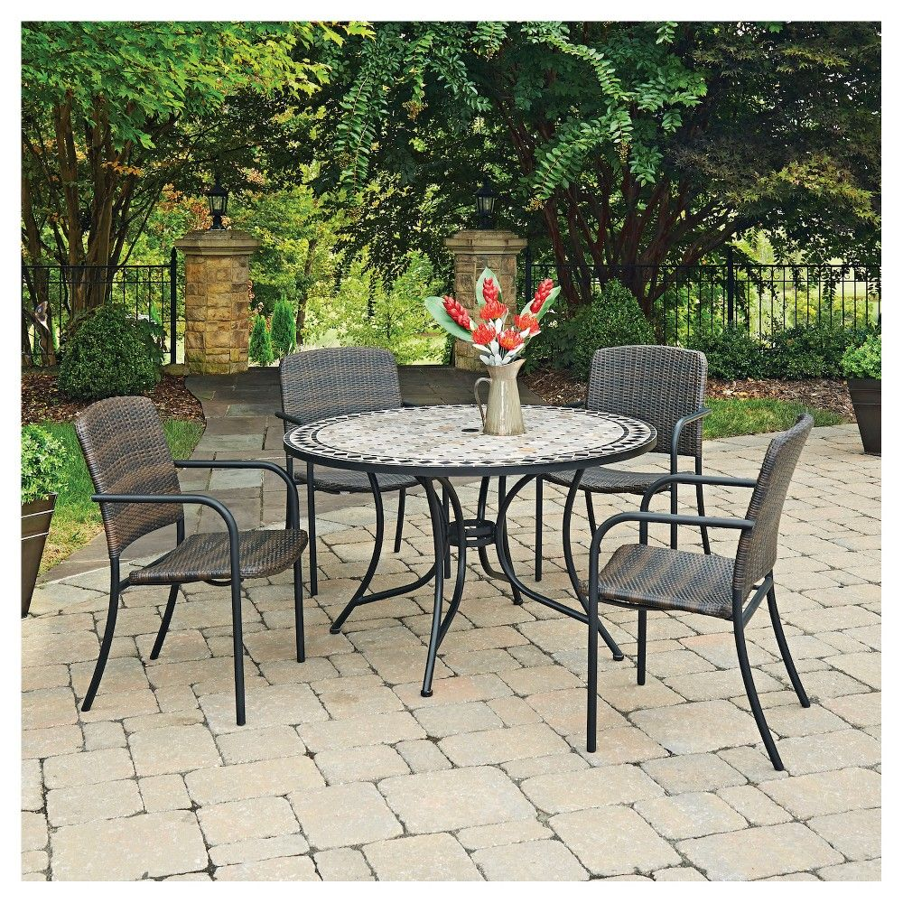 Laguna Marble Top 5 Pc Round Outdoor Dining Table And 4 Chairs