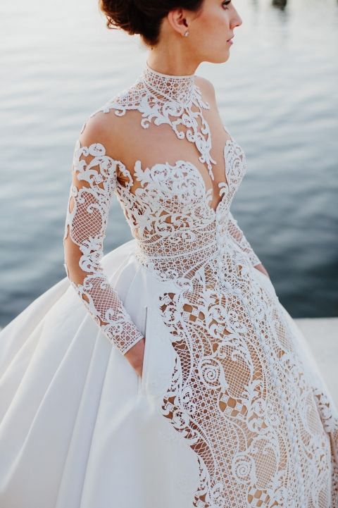 Wedding gown of Italian silk embroidered lace by JAton