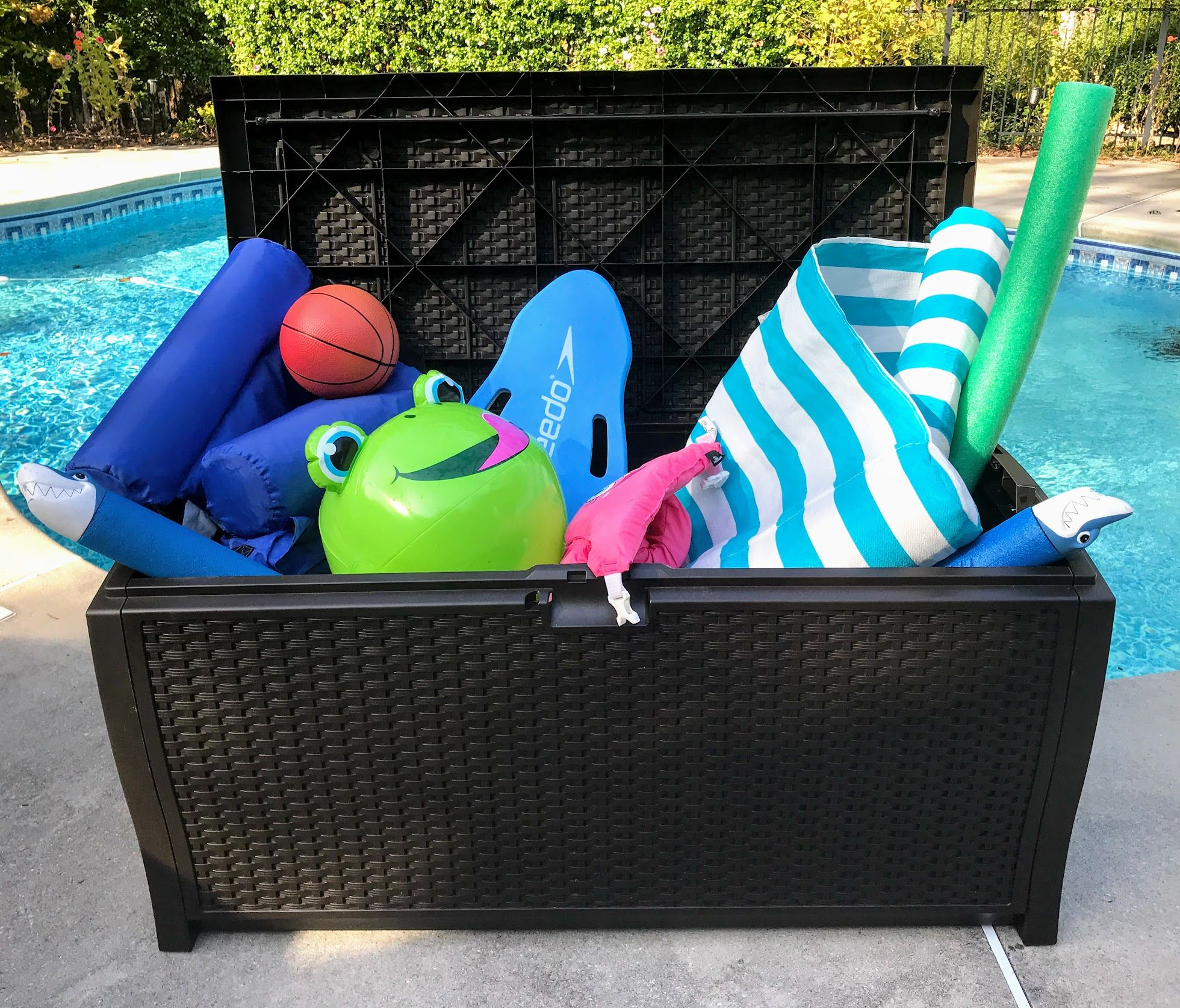 Pool Toy Storage Deck Boxes Float Organizers And More Pool Toy Storage Pool Toys Pool Float Storage