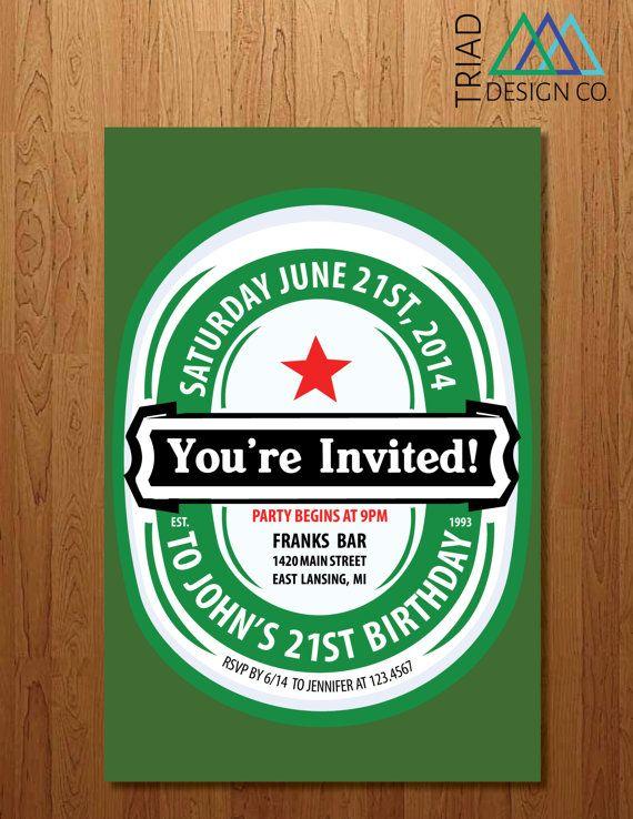 printable invitation 21st birthday bachelor party heineken