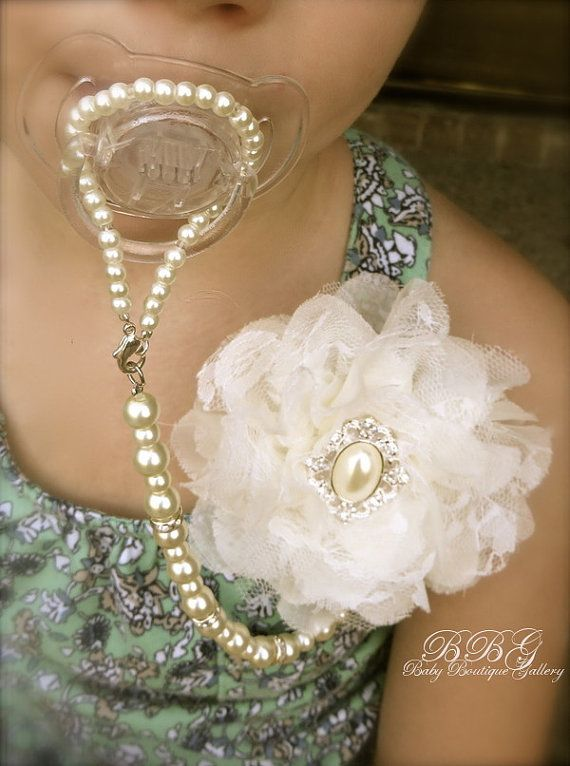 4in1 Beaded Pacifier Holder Shabby Chic by BabyBoutiqueGallery for the flower girl