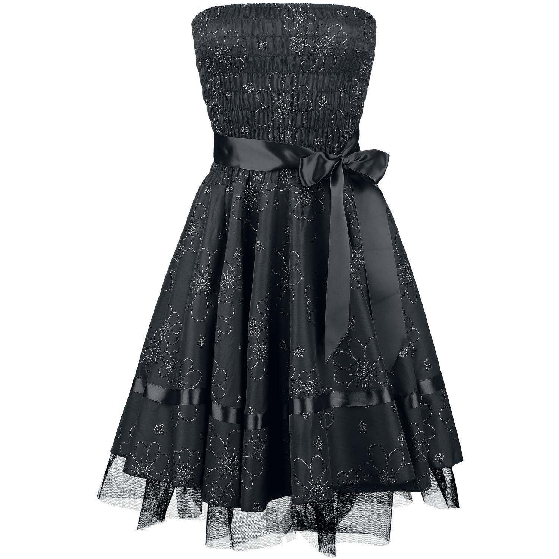 h r london mittellanges kleid frauen black satin floral. Black Bedroom Furniture Sets. Home Design Ideas