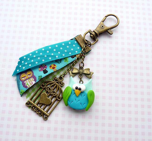 Brelok z sówką w Natajka - miniaturowe biżuteryjne słodkości:) na DaWanda.com