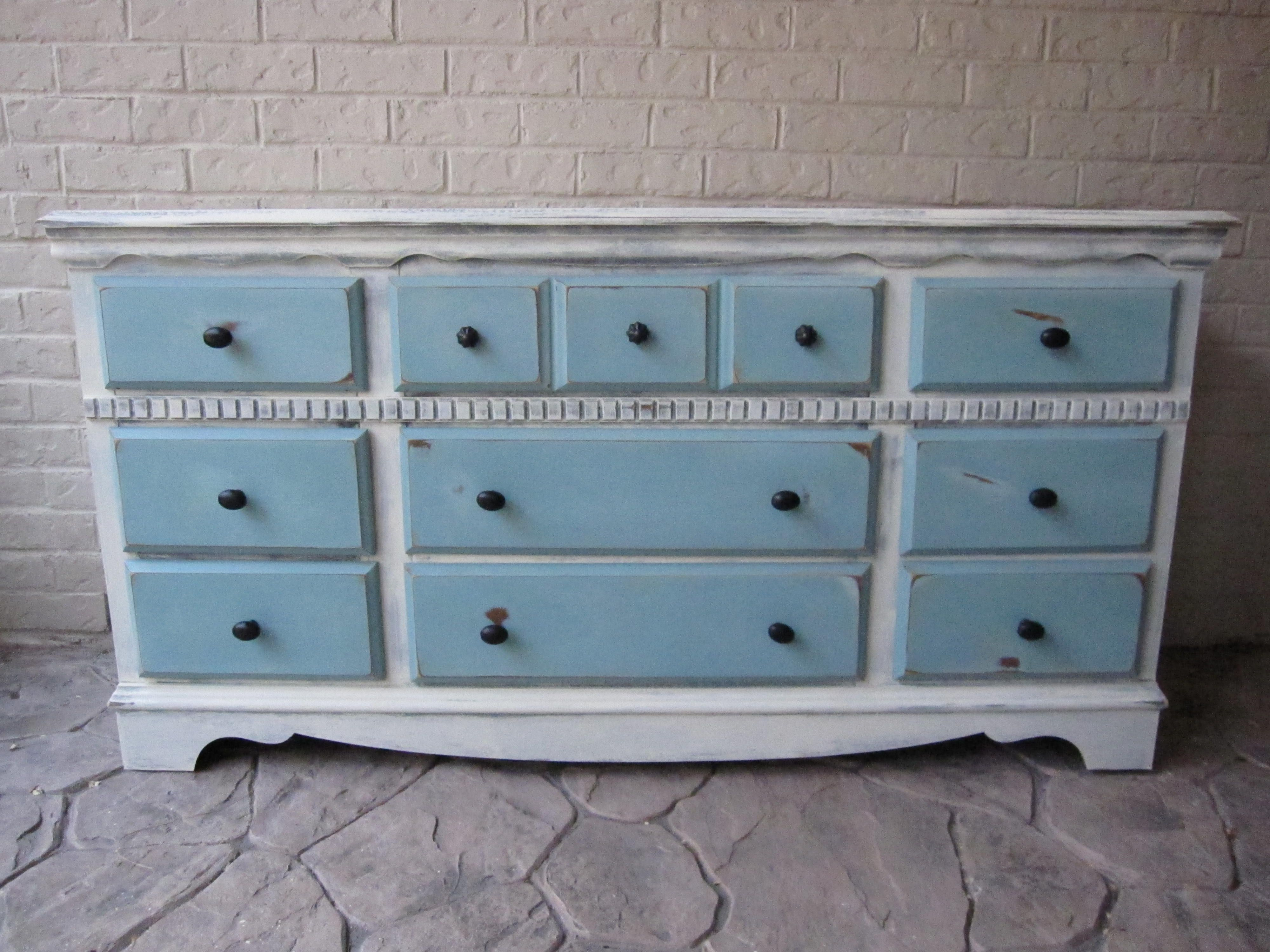 Custom Refinished Dresser Old White Provence Blue Houston