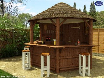 Dunster House Wahehe Wooden African Thatched Tiki Bar Outdoor Home