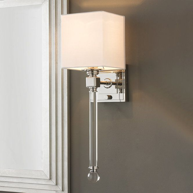 A White Cube Shade Towering Crystal Rod With Clear Ball Finial And - Square bathroom sconce