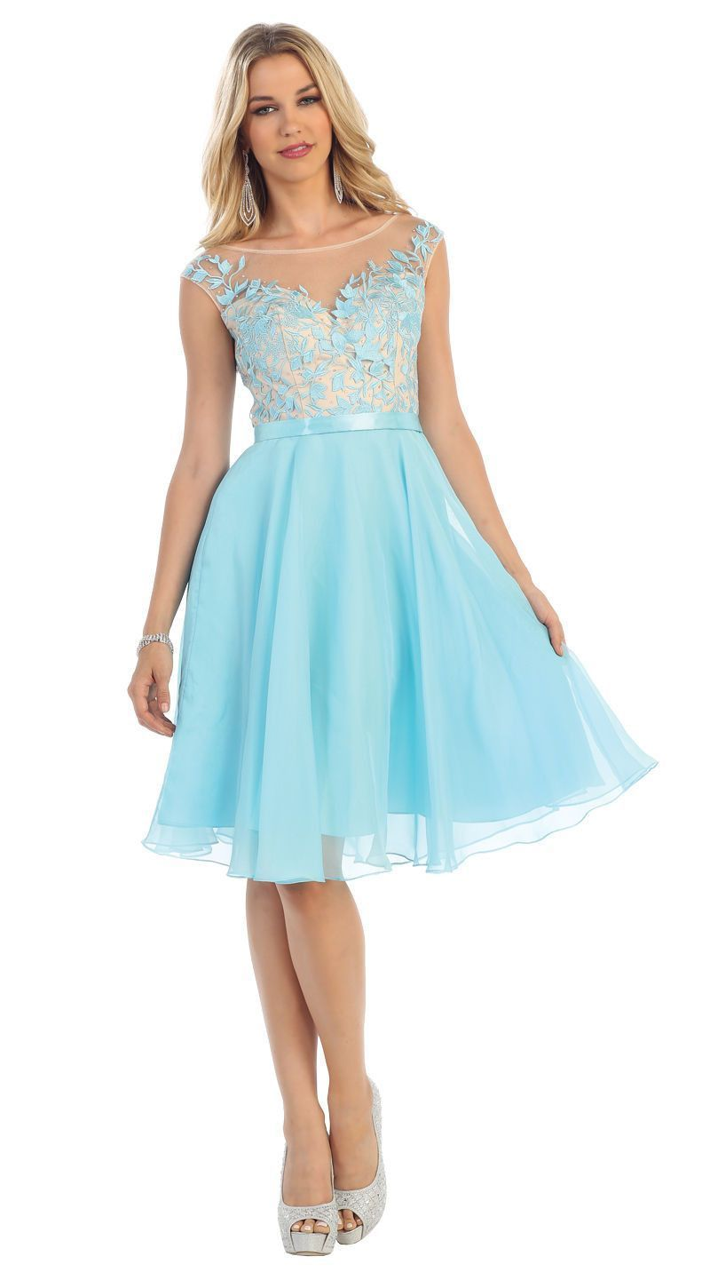 This elegant homecoming short dress comes with cap sleeves, lace ...