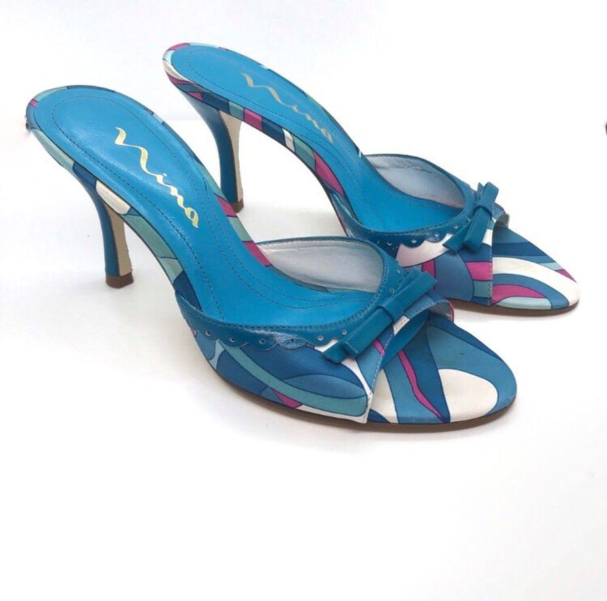 Nina Turquoise Blue Kitten Heels Retro 7 In 2020 Kitten Heels Heels Retro 7