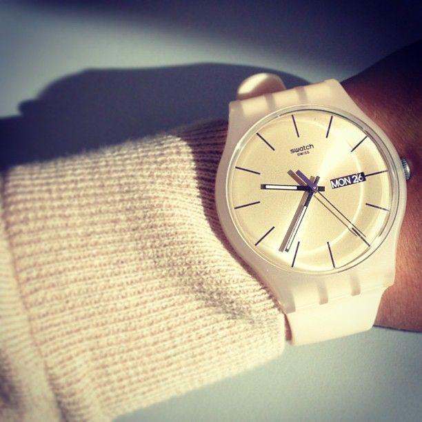 white swatch watch