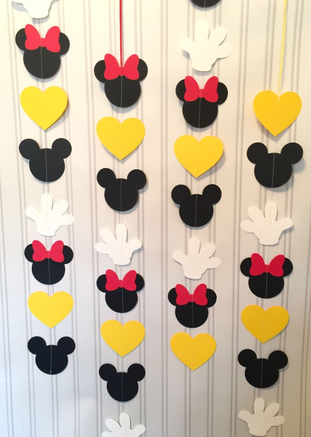 Mickey And Minnie Garlands Set Of 4 Or 8 Vertical Mickey Mouse And Minnie Mouse Birthday Garland Mickey Mouse And Minnie Mouse Party Decor Decoration Anniversaire Mickey Anniversaire Theme Mickey Mouse Decorations Mickey
