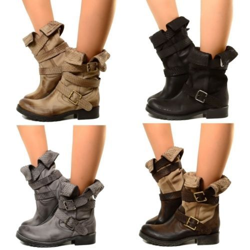 biker bottes femmes cuir boots motard roll up bottines. Black Bedroom Furniture Sets. Home Design Ideas