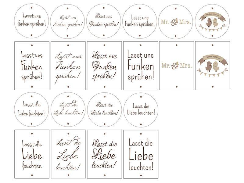 Printables zur Hochzeit 20 Etiketten fr Wunderkerzen