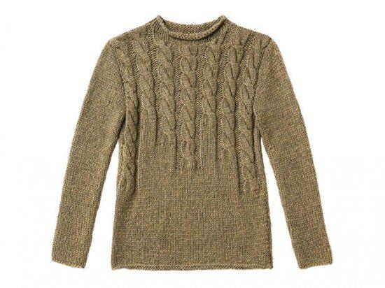 Strickmuster: Braunen Pullover mit Zopfmuster stricken | lange Zöpfe ...