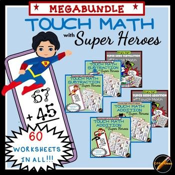 7th Grade Math Worksheets Algebra Word Touch Math Super Hero Megabundle  Touch Math Super Hero Theme  Easter Worksheets For Third Grade with Crossword Puzzle Worksheet Maker Word  Worksheets Of Touch Math Addition And Subtraction With Really Cute Super  Hero Theme This Directional Terms Worksheet