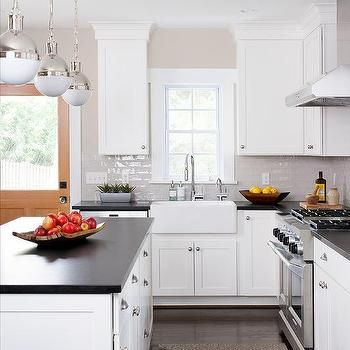 Light Gray Glazed Kitchen Tiles with White Shaker Cabinets ...