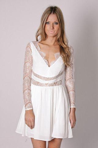 keepsake paradise stars- white long sleeve lace