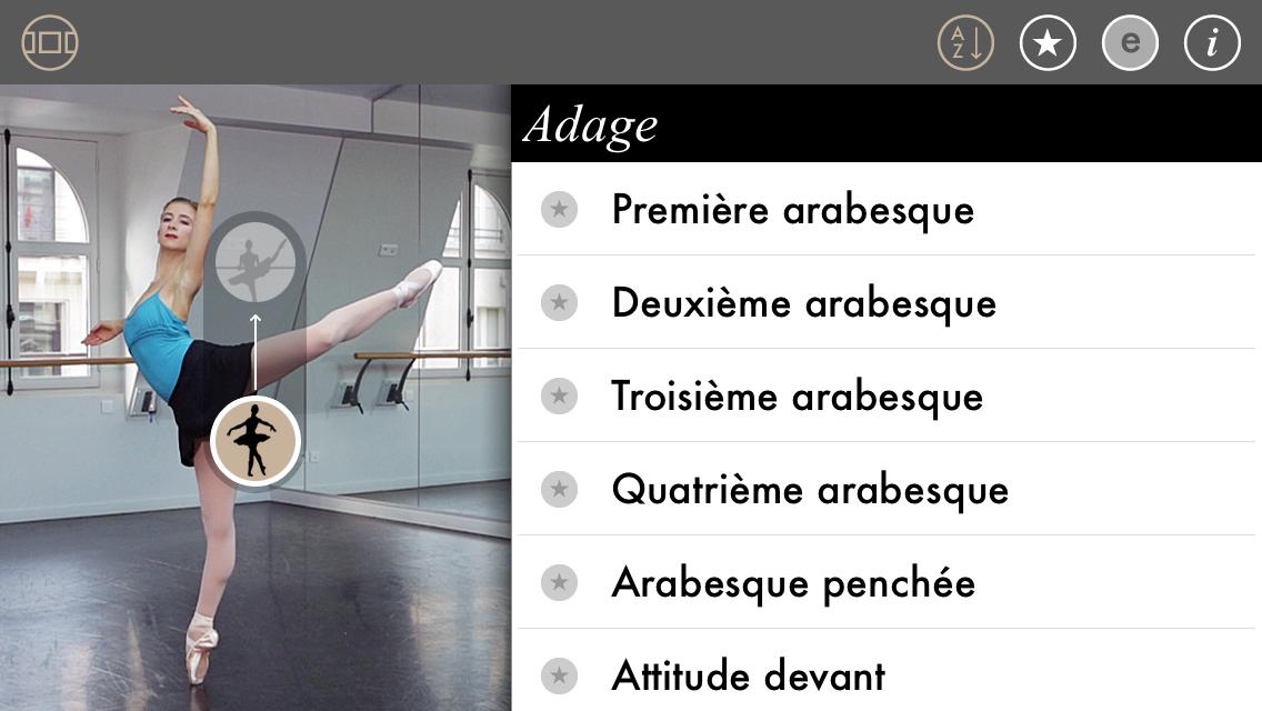 Ballet App navigation mode #1 : per ballet movement in alphabetical order in a video lexicon. -- Mode de navigation de notre appli ballet: un lexique vidéo regroupant les catégories de mouvement par ordre alphabétique.