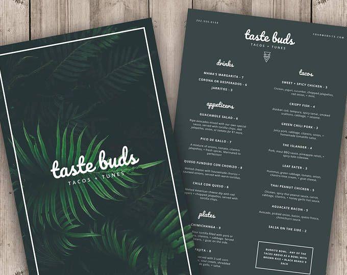 Restaurant Menu Template / Printable Menu Instant Download / Menu ...