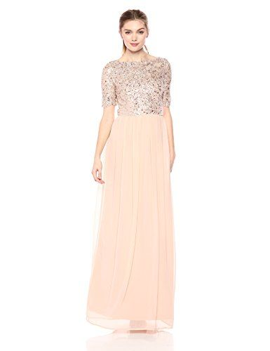 Adrianna Papell Womens Short-Sleeve Fully Beaded Gown