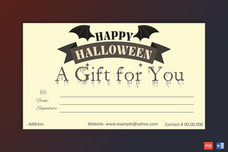 Halloween Gift Card Template Gift Card Template Halloween Gifts Gift Certificate Template
