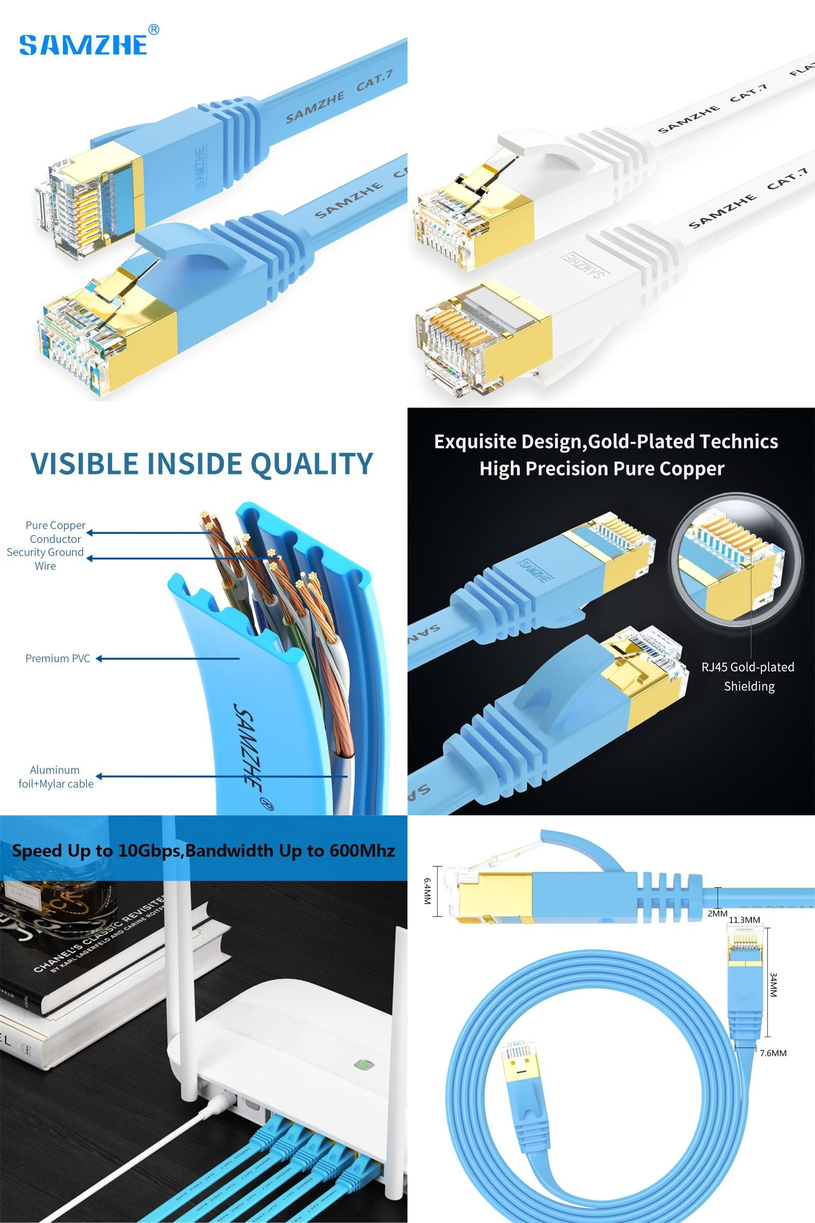 Visit to Buy] SAMZHE Flat Cat7 Ethernet Patch Cable - RJ45 Computer ...